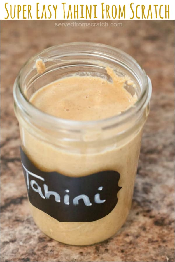 homemade tahini in a mason jar