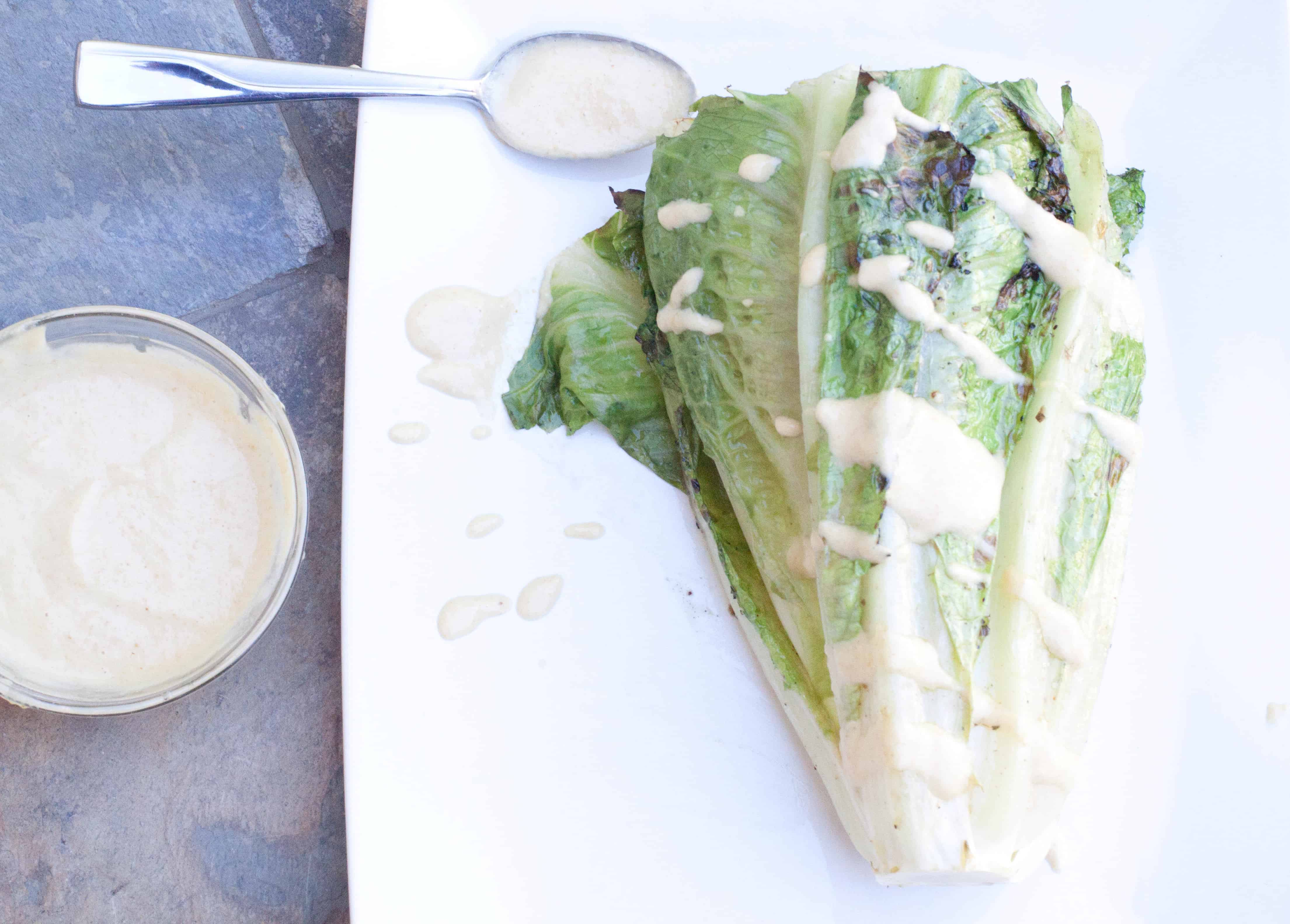 Grilled Romaine with Lemon Tahini Dressing