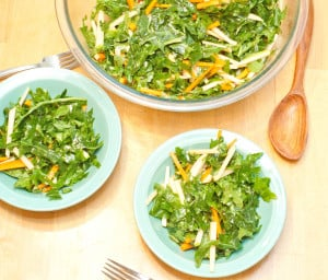 Massaged shredded kale, with carrots, green apple, rutabaga, and an incredibly flavorful yet simple dressing. The perfect way to eat kale!
