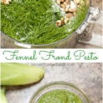 Do you love fennel but never know what to do with the fronds? No problem! Don't let it go to waste, make them into Fennel Frond Pesto! #fennelfrond #fennel #recipe #easy #vegan #glutenfree