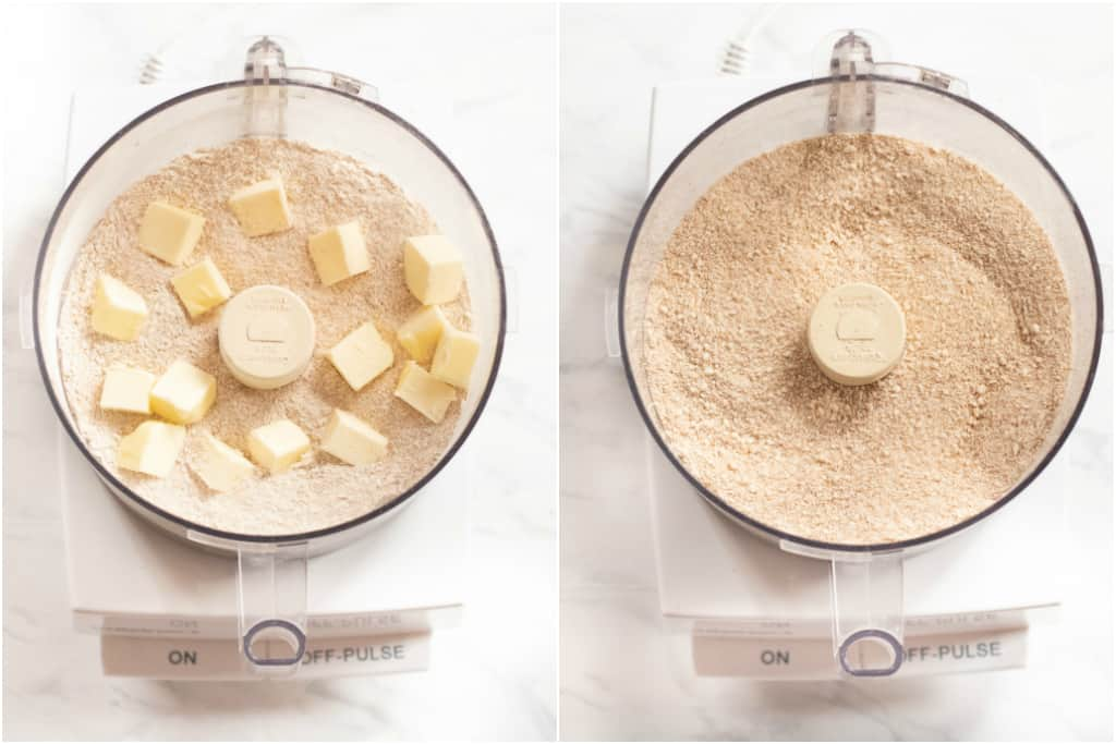 food processor with flours and butter and crumbed after pulsed