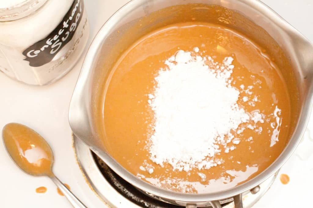 sauce pan with peanut butter and sugar