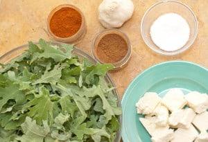Homemade Paneer is used in a Kale version of Saag Paneer
