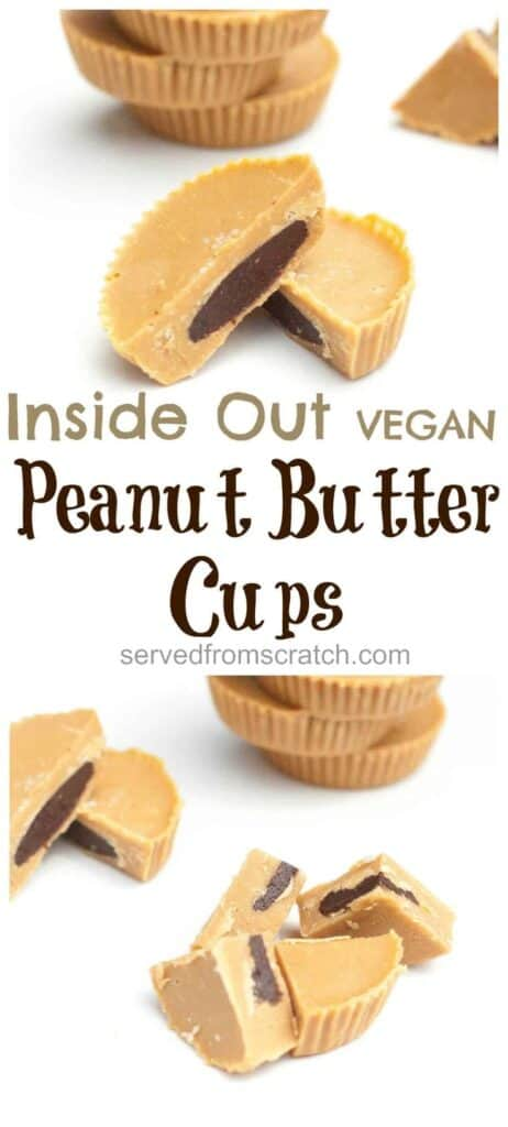 inside out peanut butter cups cut up with Pinterest pin text.