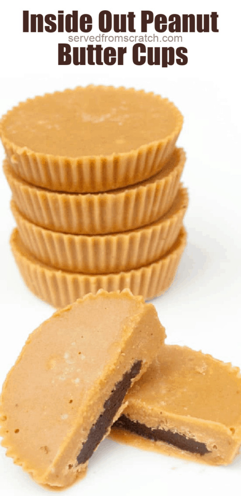 stacked peanut butter cups and one cut in half