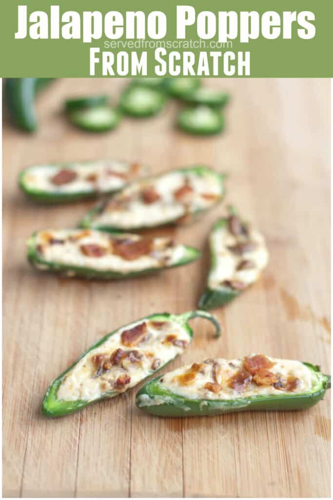 jalapenos halved and stuffed with cream cheese and crumbled bacon