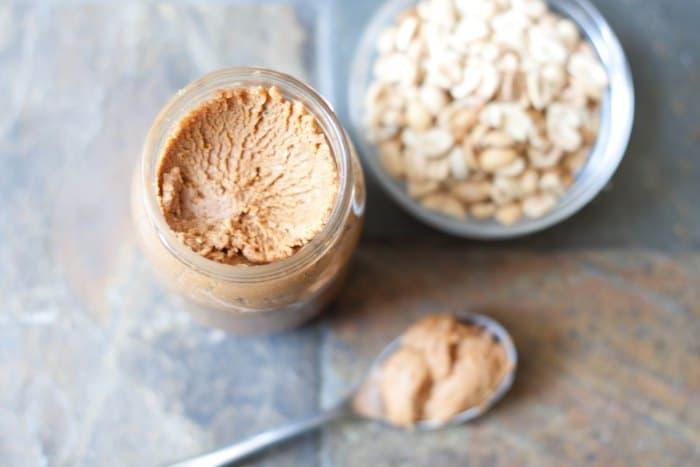 over head of peanut butter jar