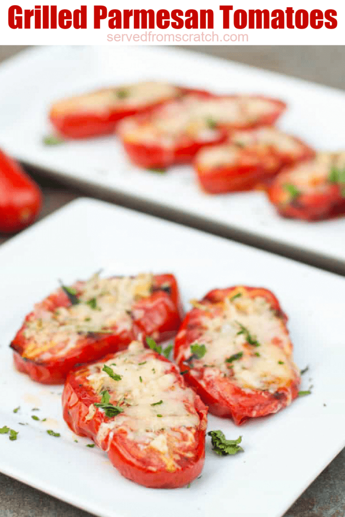 a plate of halved tomatoes with melted cheese on a plate with Pinterest pin text.
