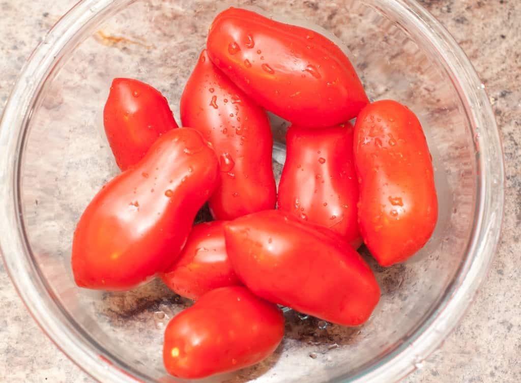 a bowl of San marzano tomatoes.