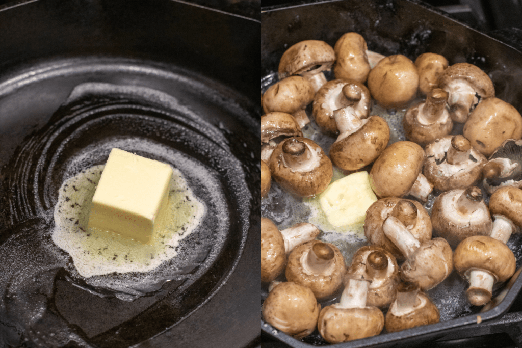 butter melting in a cast iron and then with mushrooms.