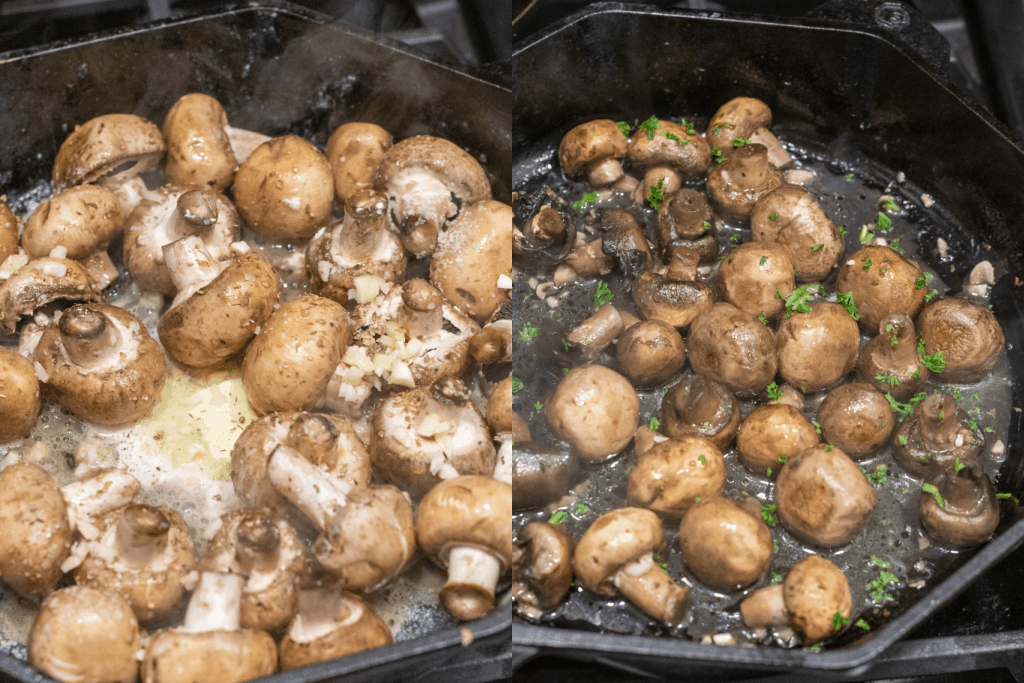 mushrooms with melted butter and garlic and then cooked mushrooms in butter and parsley.