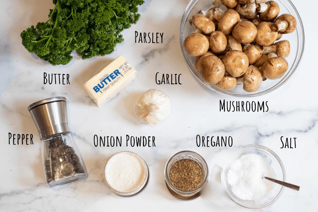 mushrooms, parsley, butter, pepper, salt, garlic, onion powder, oregano.