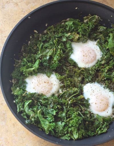 Simmered Eggs and Kale