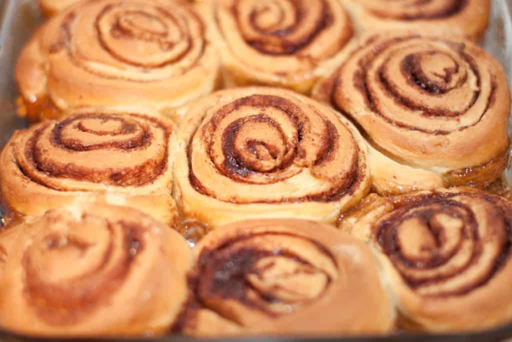 fresh baked unglazed cinnamon rolls.