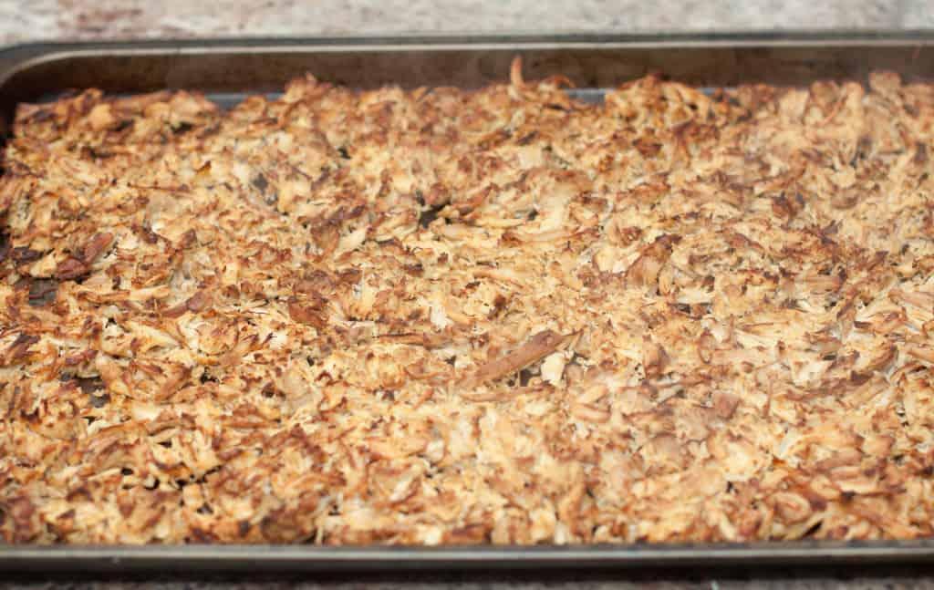 crispy chicken on a baking sheet.