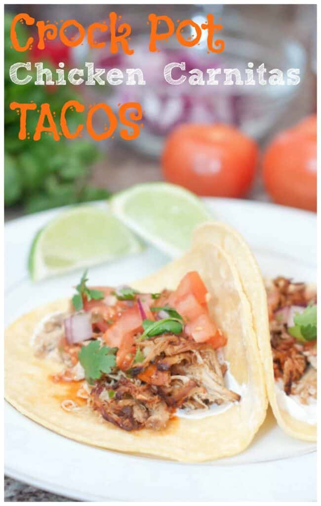 chicken tacos on a plate with Pinterest pin text.