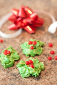 Try these easy, five Ingredient, no bake Christmas Wreath Cookies! They're the perfect addition to your holiday cookie plate!