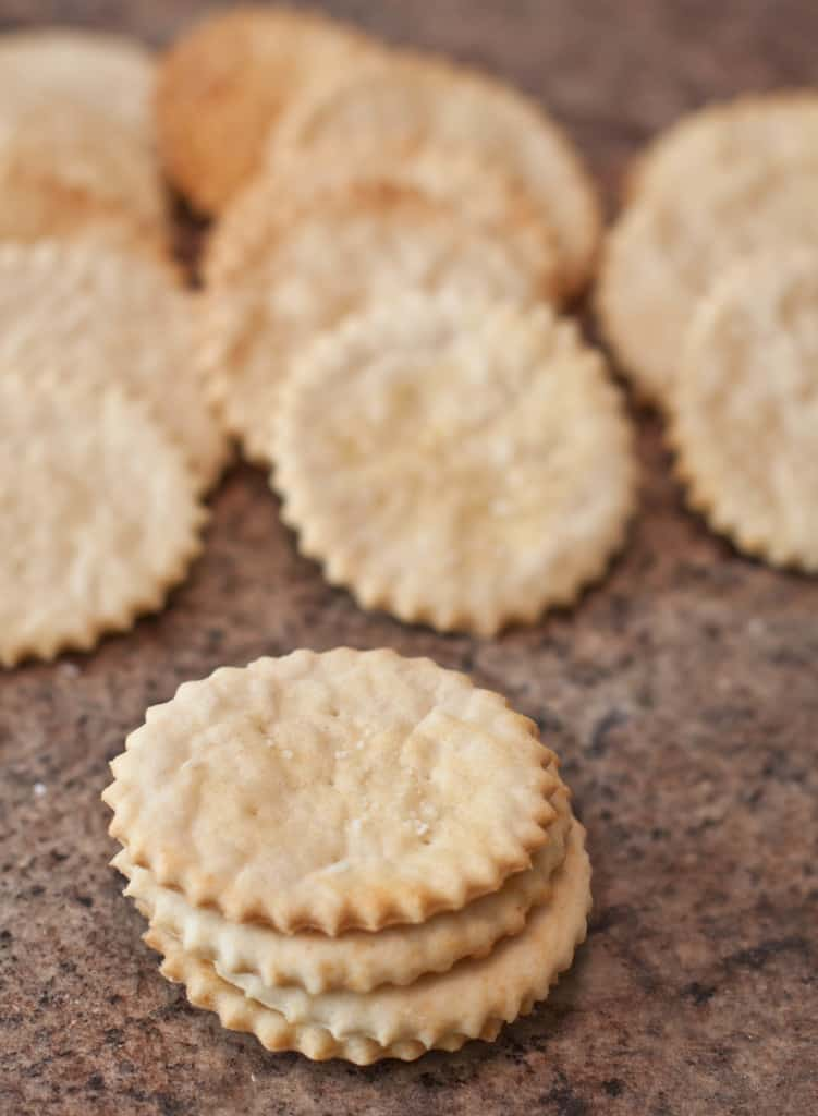 baked ritz crazkers staacked and lined up