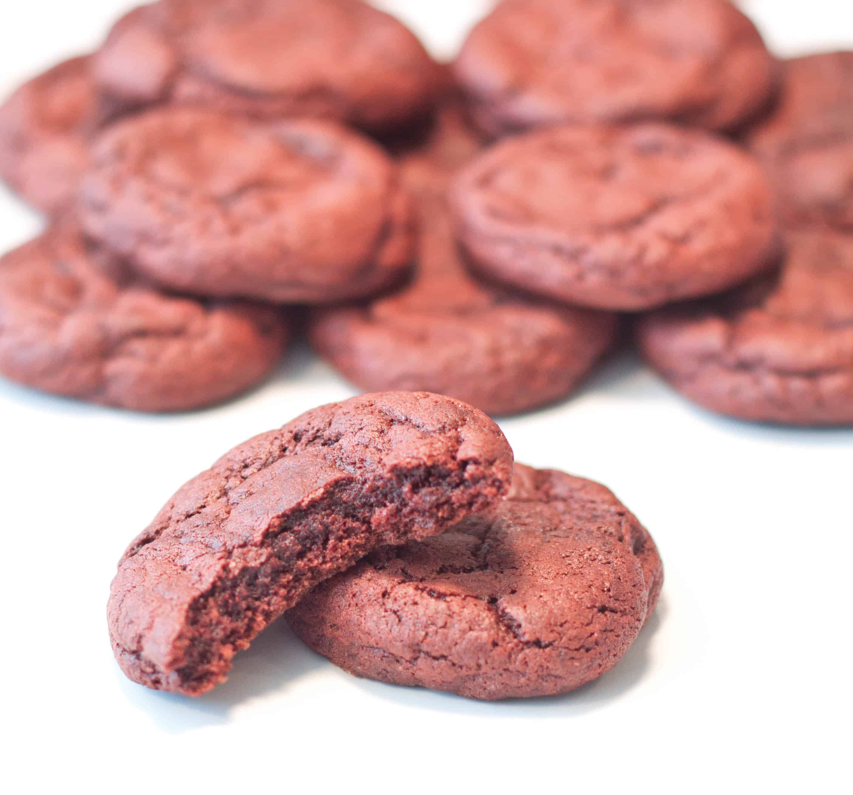 Super easy, super soft Red Velvet Cookies. Made from scratch and the perfect quick cookie to make when you have a red velvet craving!