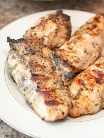 grilled chicken breasts on a plate with grill marks.