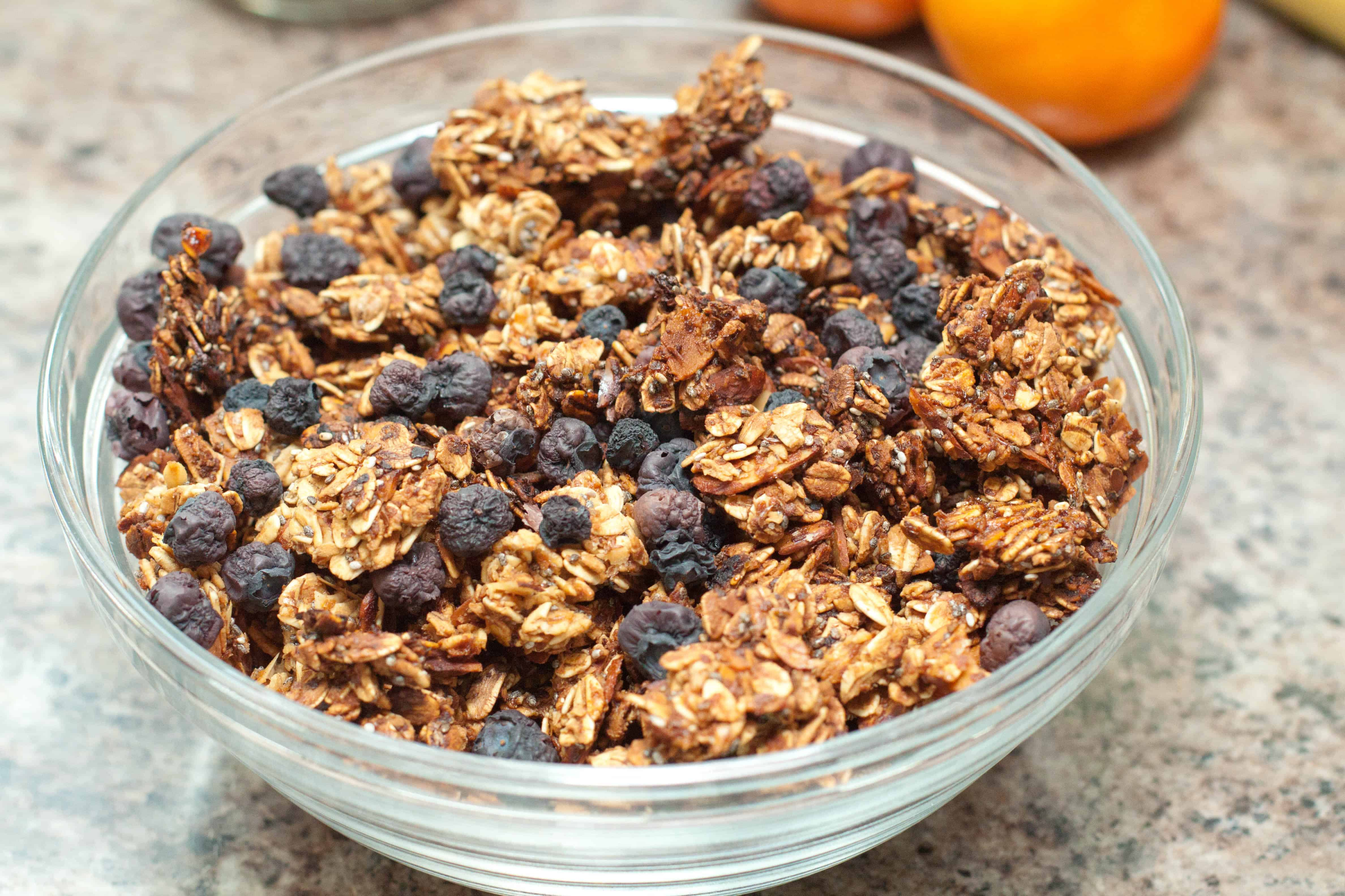 Oil free and Vegan, this homemade Blueberry Almond Granola from scratch is one of my favorite healthy, nutritious breakfasts!