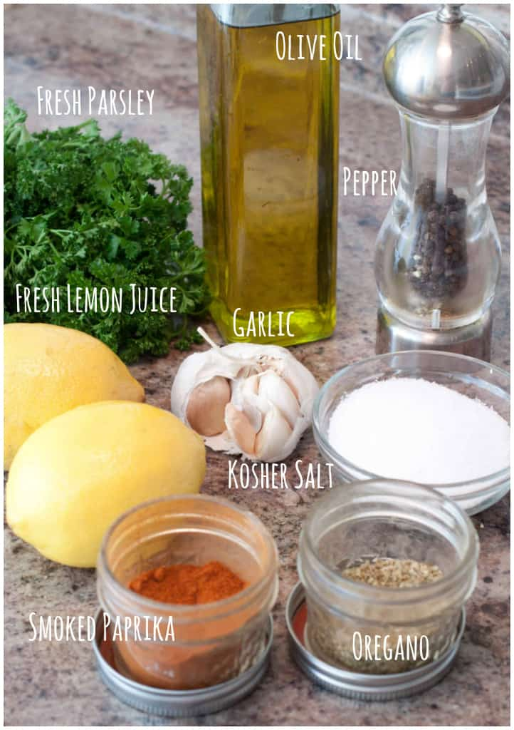 ingredients for Mediterranean Grilled Chicken Breasts on a counter