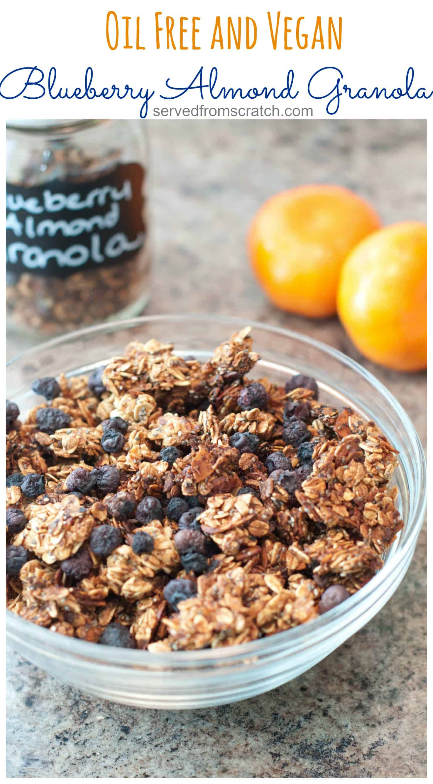 Oil free, vegan Blueberry Almond Granola from scratch