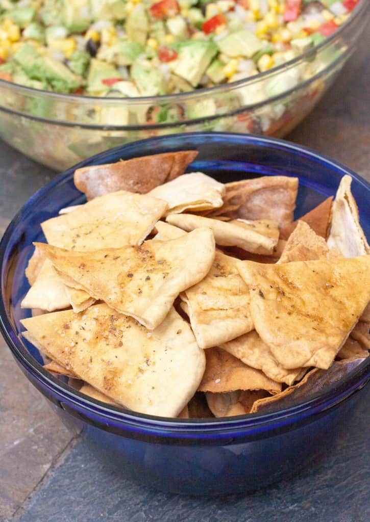 a bowl of homemade pita chips.