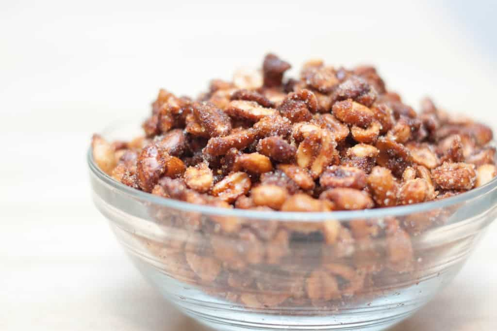 honey roasted peanuts in a bowl.