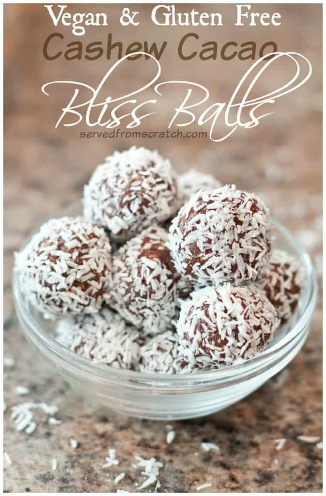 Vegan Cashew Cacao Bliss Balls are little bites of coconut dusted deliciousness that are deceivingly healthy! #blissballs #vegan #glutenfree #healthy #recipe #sugarfree #energybites