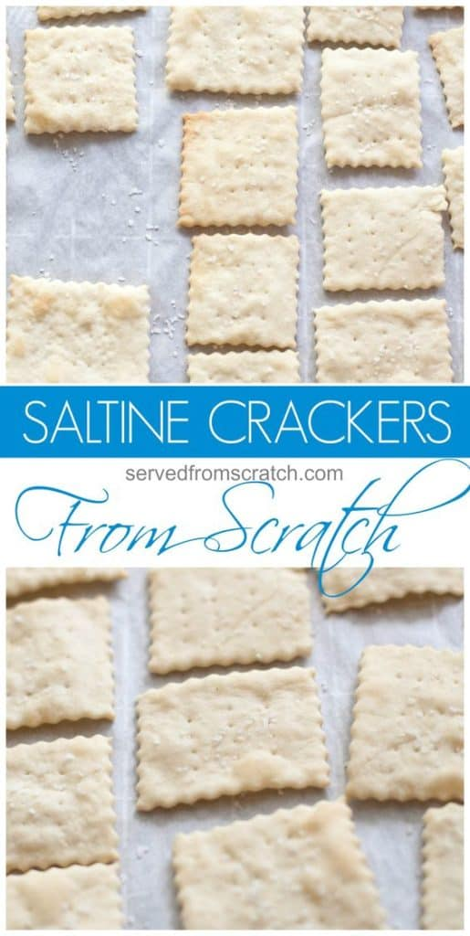 saltine crackers on parchment paper with Pinterest pin text.