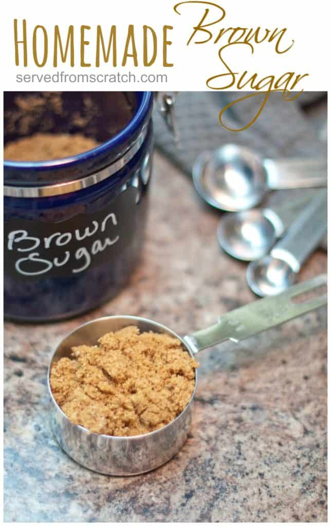 a measuring cup with brown sugar