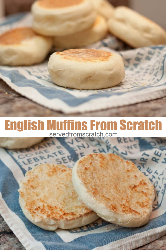 english muffins on a tea towel and one split open and buttered and pinterest text.