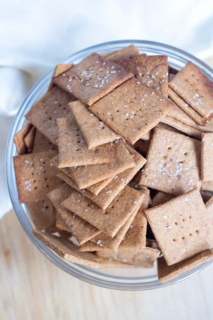 a bowl of homemade crackers.