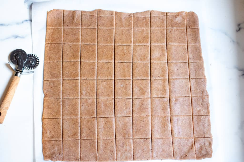 rectangle of dough cut into squares.