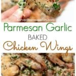 baked parmesan baked chicken wings held and on a plate
