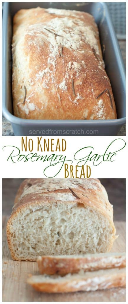 Ready to start making your own bread?  Then this No Knead Rosemary Garlic Bread is the perfect, easy, no kneading required bread to start with! #bread #noknead #rosemarygarlic #recipe #easy
