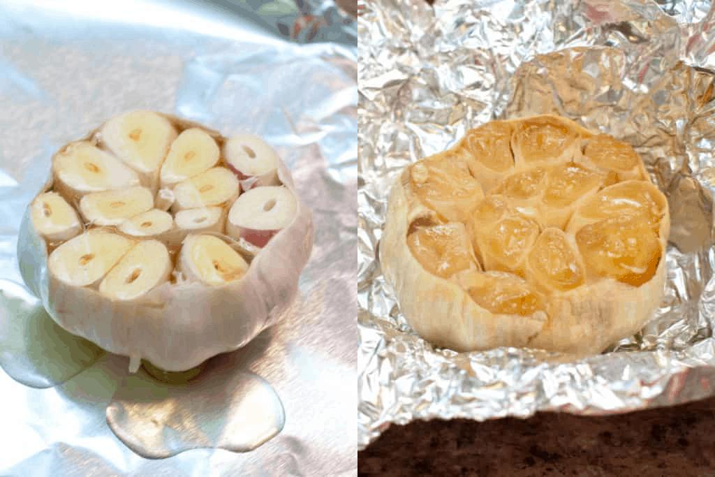 raw garlic bulb cut in half and then roasted
