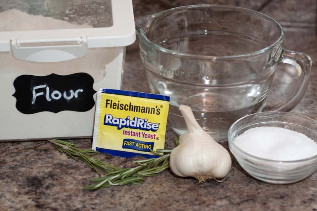 flour, water, yeast, rosemary, garlic, water