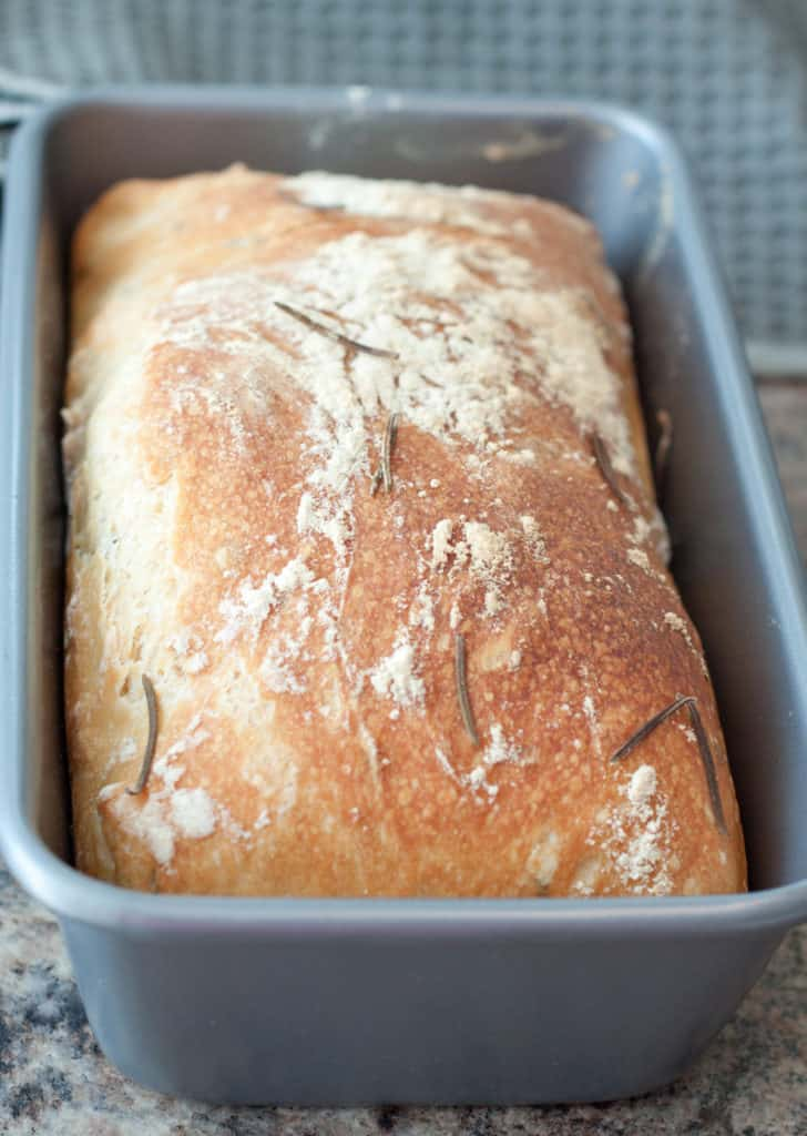 fresh baked bread in a loaf pan