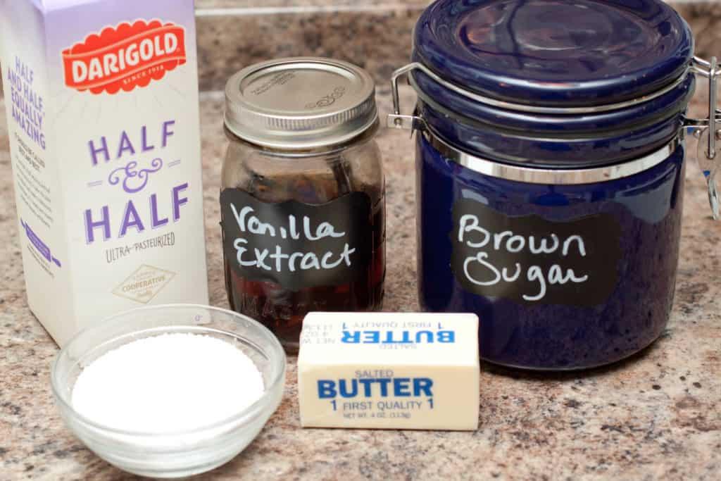 sugar, vanilla extract, butter, salt, half and half