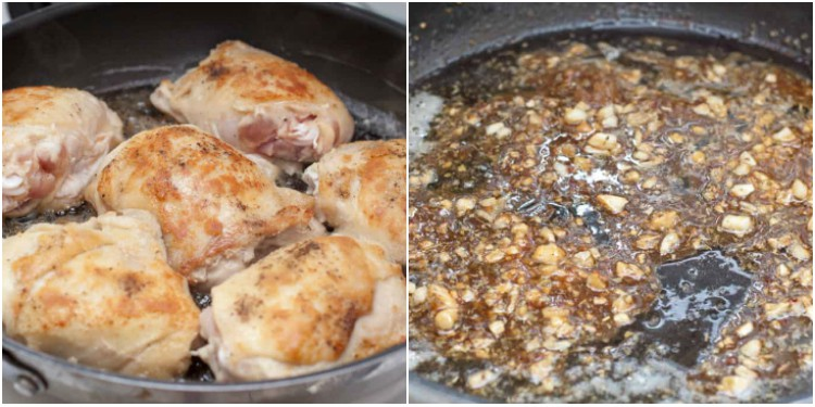 bone in chicken thighs in a pan cooking and a pan of butter and garlic.