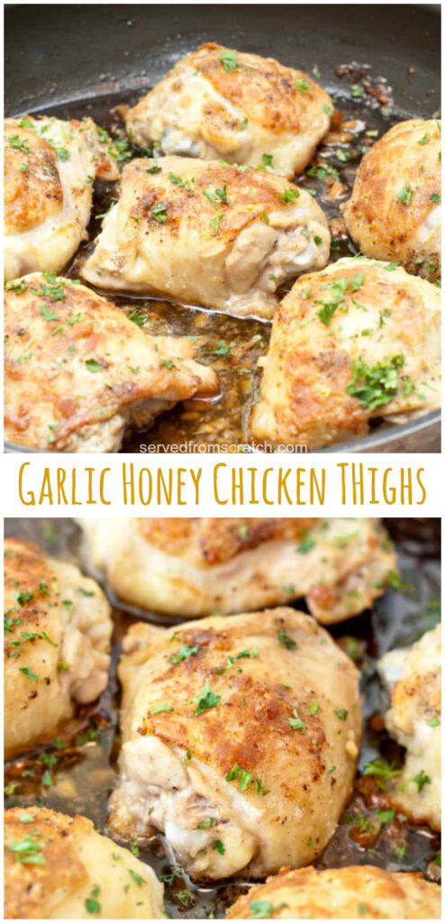 bone in chicken thighs cooked in a pan with garlic and Pinterest pin text.