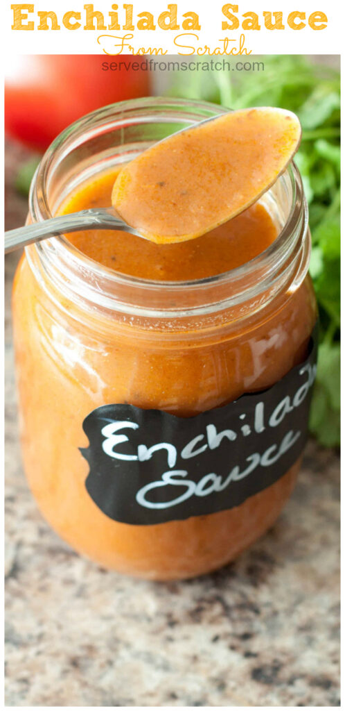 In just minutes and simple ingredients you can kick up your enchiladas by making your very own enchilada sauce from scratch! #enchiladasauce #homemade #easy #recipe #mexican #condiments #sauces
