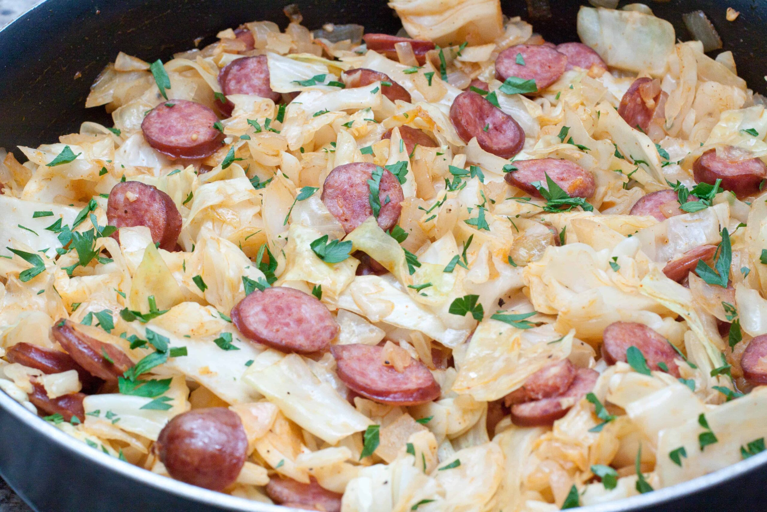 A super easy, one pan Cabbage and Kielbasa that's the perfect weeknight dinner