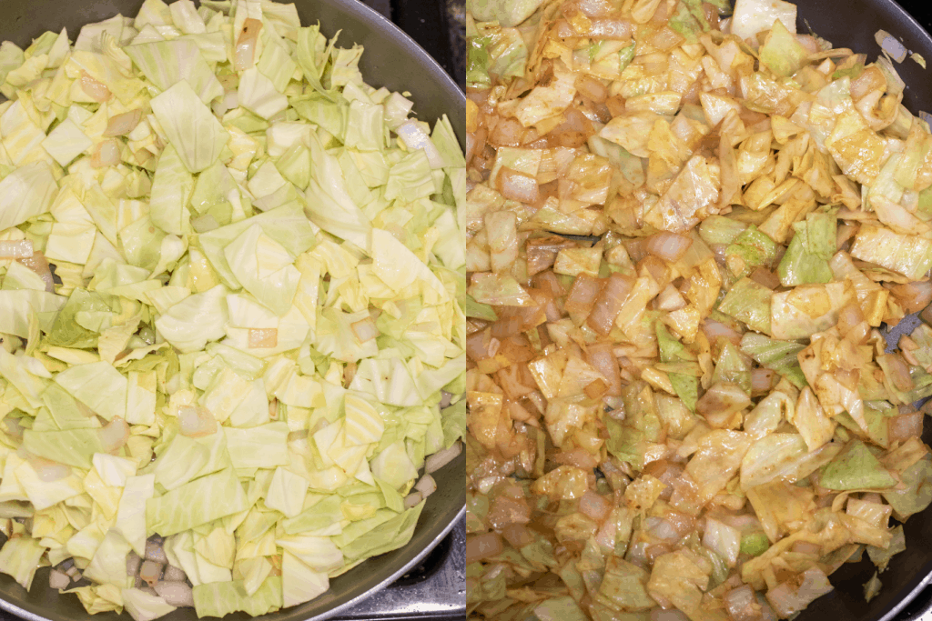 pan with uncooked cabbage and cooked cabbage