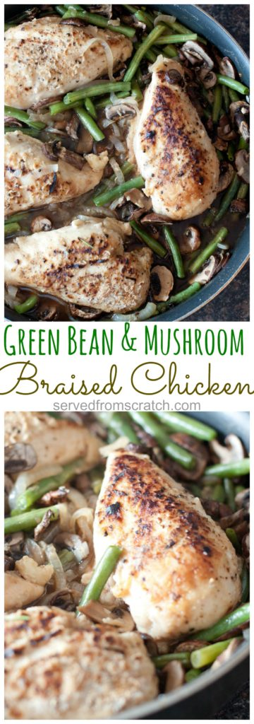 cooked chicken breasts with green beans and mushrooms in a skillet with Pinterest pin text.