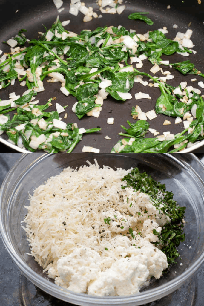 sauteed spinach and onion and a bowl of shredded cheeses and parsley and salt and pepper