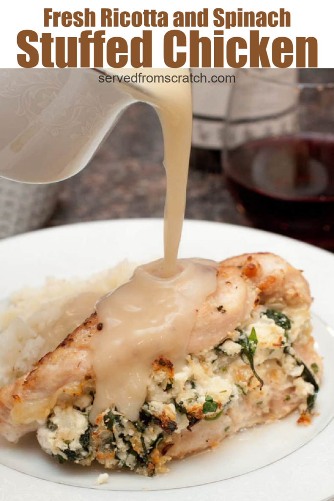 a plate of stuffed chicken with gravy poured on and pinterest text.