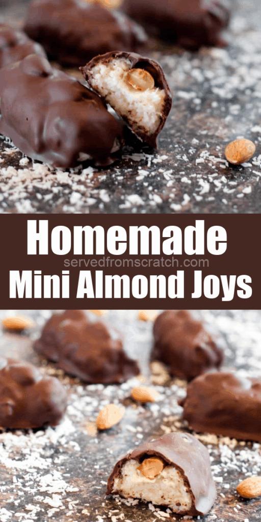 mini almond joys on coconut floured counter with Pinterest Pin Text.